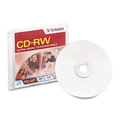 Verbatim VER95154 CD-RW Disc, 700MB/80min, 16x-24x, w/Slim Jewel Case