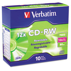 Verbatim - cd-rw discs, 700mb/80min, 12x, w/slim jewel cases, silver, 10/pack, sold as 1 pk