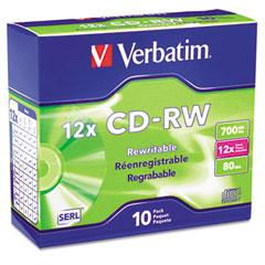 Verbatim 95156 Cd-Rw Discs, 700Mb/80Min, 12X, W/Slim Jewel Cases, Silver, 10/Pack