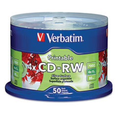 Verbatim 95159 Cd-Rw Discs, 700Mb/80Min, 4X, Spindle, Silver, 50/Pack