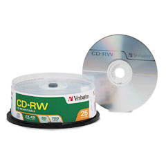 Verbatim - cd-rw discs, 700mb/80min, 4x, spindle, matte silver, 25/pack, sold as 1 pk