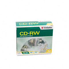 Verbatim - cd-rw discs, 700mb/80min, 2x-4x, slim jewel cases, matte silver, 10/pack, sold as 1 pk