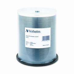 Verbatim - cd-r, 52x, 700mb, inkjet printable, white, 100/spindle, sold as 1 pk