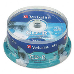 Verbatim 95252 Hub Ij Printable Cd-R Discs, 700Mb/80Min, 52X, Spindle, White, 100/Pack