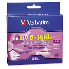 Verbatim - dual-layer dvd+r discs, 8.5gb, 8x, w/jewel cases, 5/pack, silver, sold as 1 pk