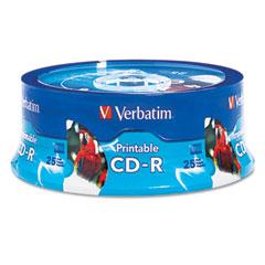 Verbatim - hub inkjet printable cd-r discs, 700mb/80min, 52x, white, 25/pack, sold as 1 pk