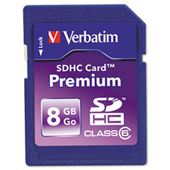Verbatim - premium sdhc card, 8gb, sold as 1 ea