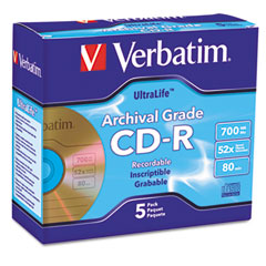 Verbatim - cd-r archival grade disc, 700mb, 52x, w/jewel case, gold, 5/pack, sold as 1 pk