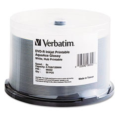 Verbatim - inkjet printable dvd-r discs, 4.7gb, 8x, spindle, white, 50/pack, sold as 1 pk