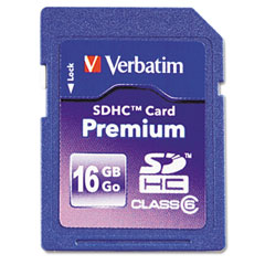 Verbatim - premium sdhc card, 16gb, sold as 1 ea