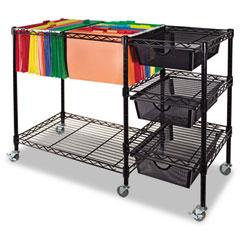 Advantus - mobile file cart w/drawers, 38w x 15-1/2d x 28h, black, sold as 1 ea