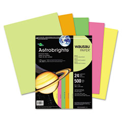Wausau paper - astrobrights colored paper, 24lb, 8-1/2 x 11, neon assortment, 500 sheets/ream, sold as 1 rm