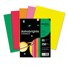 Wausau Papers 21003 Astrobrights Colored Card Stock, 65 Lbs., 8-1/2 X 11, Assorted, 250 Sheets