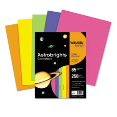 Wausau Papers 21004 Astrobrights Colored Card Stock, 65 Lbs., 8-1/2 X 11, Assorted, 250 Sheets