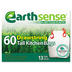Webster GES6DK60 Recycled Can Liners, 13 Gal, .9 Mil, 24 1/2 X 27 3/8, White, 60 Bags/Pack