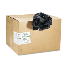 Webster RNW3310 Recycled Can Liners, 16 Gal, .65 Mil, 24 X 31, Black, 500/Carton
