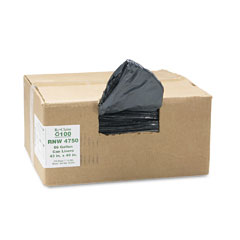 Webster RNW4750 Recycled Can Liners, 56 Gal, 1.25 Mil, 43 X 48, Black, 100/Carton