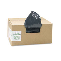 Webster RNW6050 Recycled Can Liners, 55-60 Gal, 1.25 Mil, 38 X 58, Black, 100/Carton