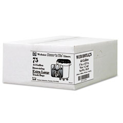 Webster WBIWEB1DTLL75 Heavy-Duty Bags, Hexene Resin, 44gal, 1.2 mil, 37 x 42.5, Black, 75/Carton