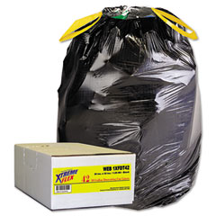 Webster WEB1XFDT42 Drawstring Can Liners, 30 Gallon, 1.05 Mil, Black, 42/Carton