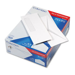 Mead Westvaco WEVCO160 Poly-Klear Single Window Envelope, V-Flap, #9, White, 500/Box