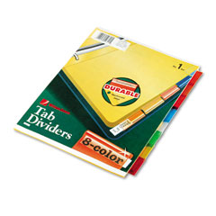 Wilson jones - single-sided reinforced insertable index, multicolor 8-tab, letter, buff, 8/set, sold as 1 st
