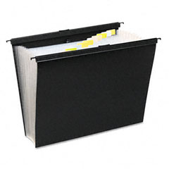 Wilson jones - slidebar file with expanding 13 pockets, poly, letter, black, sold as 1 ea