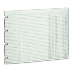 Wilson jones - accounting sheets, three column, 9-1/4 x 11-7/8, 100 loose sheets/pack, green, sold as 1 pk