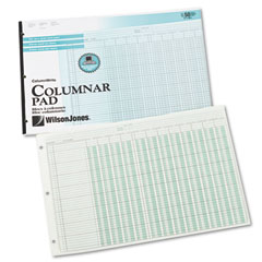 Wilson jones - side-punched columnar pad, 12 8-unit columns, perforated heading, 11 x 16-3/8, sold as 1 pd