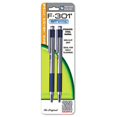 Zebra - f-301 retractable ballpoint pen, blue in, fine, 2 per pack, sold as 1 pk