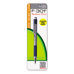 Zebra - f-301 ballpoint retractable pen, blue ink, medium, sold as 1 ea