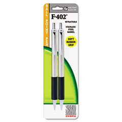 Zebra - f-402 ballpoint retractable pen, black ink, fine, 2/pk, sold as 1 ea