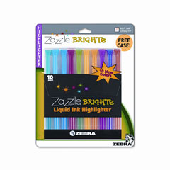 Zebra - zazzle brights hghlghtr, chisel tip, assorted colors, 10/set, sold as 1 st