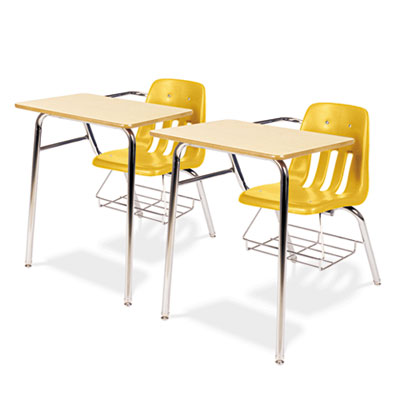9400 Series Chair Desk, 21w x 33-1/2d x 30h, Fusion Maple/Squash, 2/Carton