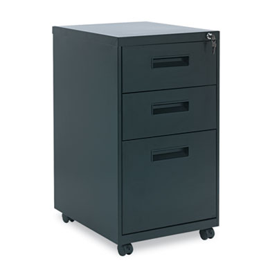 Three-Drawer Mobile Pedestal File, 16w x 19-1/2d x 28-1/2h, Black
