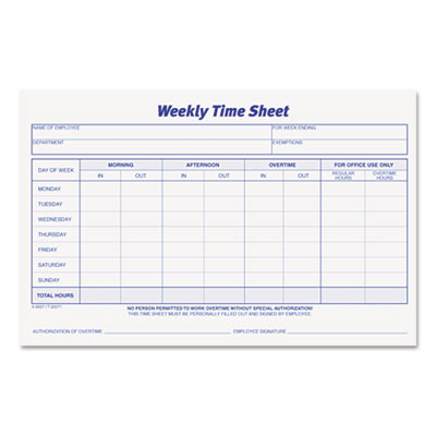 Weekly Time Sheets, 5 1/2 x 8 1/2, 100/Pad, 2/Pack