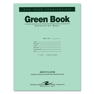Green Books Exam Books, Stapled, Wide Rule,11 x 8 1/2, 8 Sheets/16 Pages
