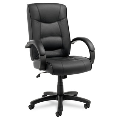 Strada Series High-Back Swivel/Tilt Chair, Black Top-Grain Leather Upholstery