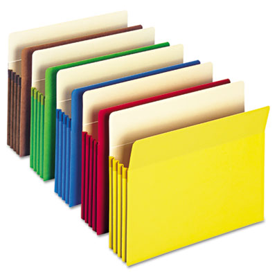 "3 1/2"" Accordion Expansion Colored File Pocket, Straight Tab, Ltr, Asst, 25/Box"
