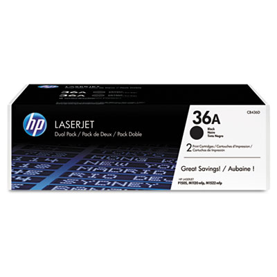 HP 36A, 2-pack Black Original LaserJet Toner Cartridges