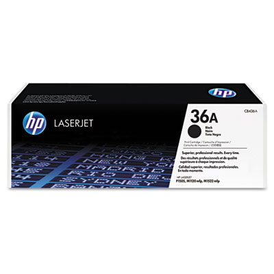 CB436A (HP 36A) Toner Cartridge, 2000 Page-Yield, Black
