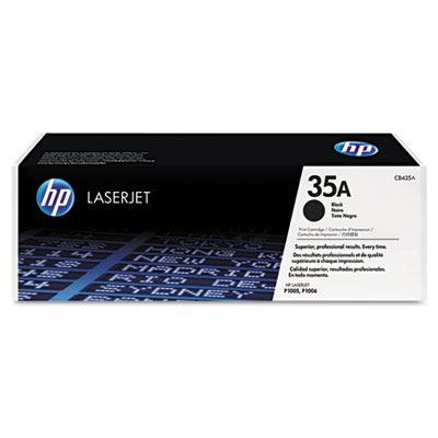 CB435A (HP 35A) Toner Cartridge, 1500 Page-Yield, Black