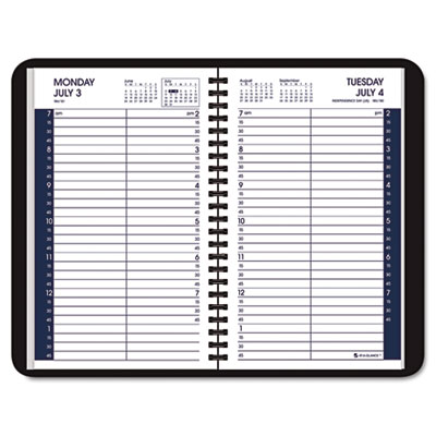 "Recycled Daily Academic Appointment Book, Black, 4 7/8"" x 8"", 2013-2014"