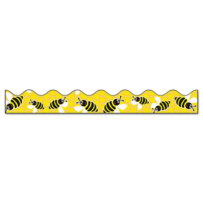 "Bordette Decorative Border, Bees, 2 1/4"" x 25' Roll, Black/White/Yellow"