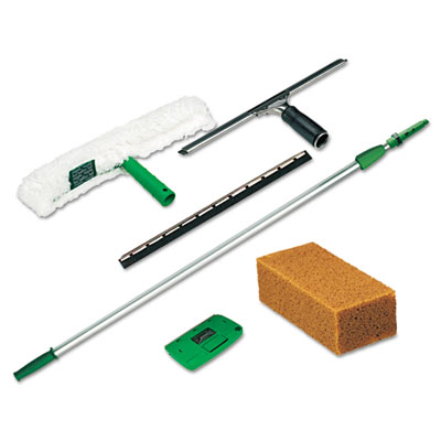 Pro Window Cleaning Kit w/8-ft. Pole, Scrubber, Squeegee, Scraper, Sponge