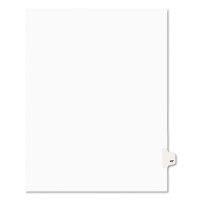 Avery-Style Legal Side Tab Divider, Title: 47, Letter, White, 25/Pack