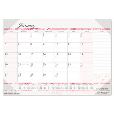 Breast Cancer Awareness Monthly Desk Pad Calendar, 18-1/2 x 13, 2013