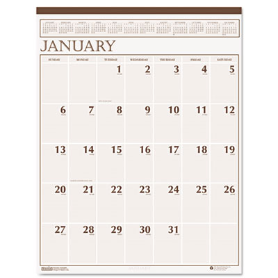 Printable Calendars 2013 Monthly on Large Print Monthly Wall Calendar In Punched Leatherette Binding  20 X