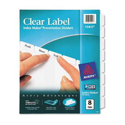 Index Maker Clear Label Dividers, 8-Tab, Letter, White