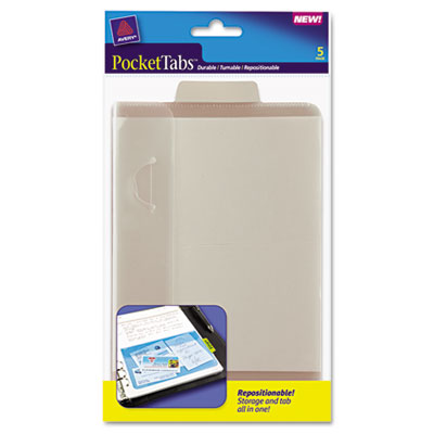 PocketTab Repositionable Storage Pockets, 5 x 7 1/2, Taupe, 5/Pack